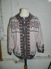 Dale of Norway chaqueta de lana rosa con patrón de Argyle y broches metálicos-XL