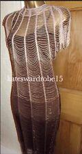KAREN MILLEN ❤️ RRP £350 MOCHA GATSBY VINTAGE FLAPPER 20S BEAD DRESS Size 10 12