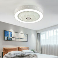 Round Modern Retractable Dimmable Light Remote Control LED Ceiling Fan Lamp Star