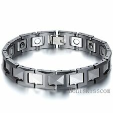 12mm Tungsten Carbide Energy Magnetic Hematite Men's Bracelet Black 8.3 Inch