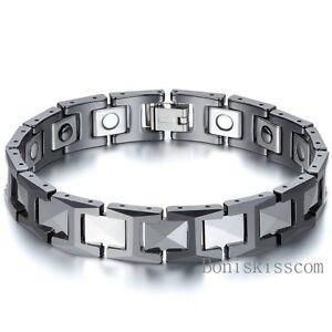 12mm Tungsten Carbide Energy Magnetic Hematite Men's Bracelet Black 8.3 Inch