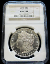1887 SILVER UNITED STATES MORGAN $1 DOLLAR COIN NGC MINT STATE 65 PROOF LIKE