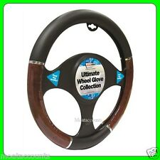 Black & efecto de madera cubierta del volante [ swwg1 ] se adapta 37 - 38 Cm De Diámetro