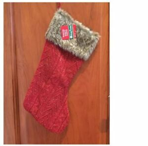 Merry Brite Holiday Knitted Stocking - Red