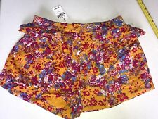 New LF STORE Paper Hearts Burnt Orange Floral Ruffle Print Shorts Women's US 2/4