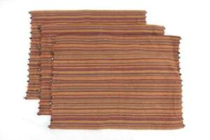 Set of 3 Pier 1 Imports Bohemian Style Placemats Beaded Ends Woven Striped