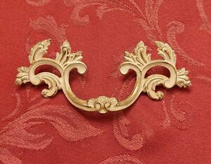 "French Provincial Drawer Pull 3 1/2"" Bore Keeler Brass K8949 White Gold RARE HTF"
