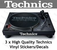3 x Technics Stickers Logos White. SL-1200 SL-1210 Turntables Decks. MK2 MK3 MK7