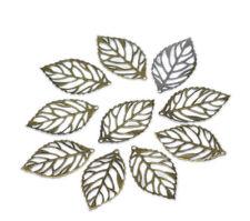 200 Pendentifs Breloques Feuille Pour Collier Bijoux accessoire Bronze 24x13mm