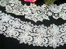 2 ANTIQUE Victorian era Handmade LACE ecru DUCHESS crochet  DOLLS collars TRIM