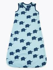 Brand New M&S Baby Boys Sleeping Bag 1Tog Organic Cotton Blue Elephant Ex RRP18