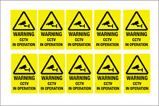 CCTV WARNING STICKERS  - 50 X 75MM PRINTED on exterior vinyl pack of 10