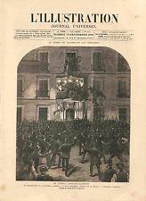Manifestation à Madrid Conflit Espagne Allemagne Dessin Campuzano GRAVURE 1885