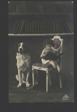 MB4792 LITTLE GIRL READING A STORY FOR HER BIG DOG , RPPC  HAND. COL