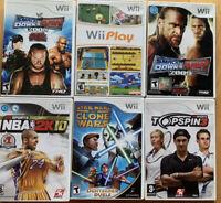 "NINTENDO WII GAME LOT X6 Star Wars SmackDown Rad 08""09"" NBA 2K10 TopSpin3 Wii Pl"