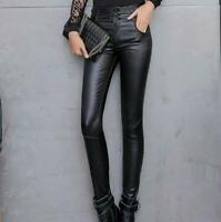 Women High Waist Faux Leather Slim Pants Skinny Casual Trousers Bottoms Leggings