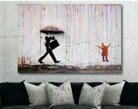 BANKSY Coloured Rain - Canvas Wall Art Print