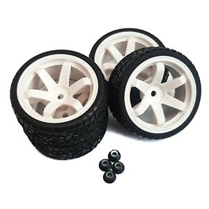 1/10 RC Road Wheels and Tyres WHITE 6 Spoke Tamiya TT02 TT01 WHEEL NUTS 6mm o/s