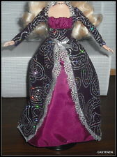 DRESS WINTER FANTASY DOLL BURGUNDY BLACK SILVER GLITTER GOWN CLOTHING ACCESSORY