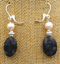 Gray Labradorite Gems Earrings New Akoya Freshwater aquaculture Pearl+Black