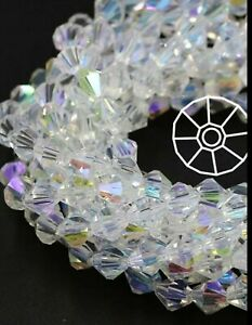 2mm 100 Ghost Light Crystals Quality A++++ Clear White AB Bicone Glass Beads