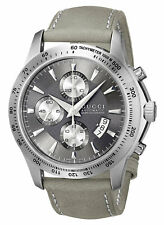Gucci G-Timeless Automatic YA126241 Chronograph Date Gray Leather Men's Watch