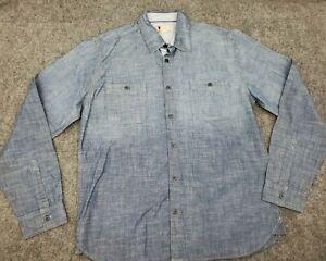 Men's AL Angelo Litrico Casual Denim Size 2XL Button Down Blue Shirt