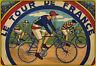 Le Tour de France Rétro Panneau Métallique Plaque Voûté Étain Signer 20 X 30 CM