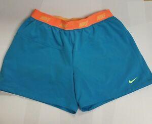 Nike Dri Fit Running Fitness Athletic Girls Shorts Turquoise XL Blue Orange