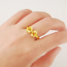 24K Yellow Gold Plated Heart Hollow Bowknot Women Ring Adjustable Size YJR036