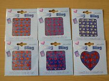 A Forma di Cuore Sfaccettato Gemme per le Carte, assortiti dimensioni Pietre, 6 confezioni, Bling