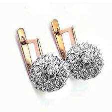 Antique Style Russian diamond malinka earrings 585 14k Rose & White Gold 1.0 CT.