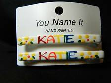 """""""KATIE"""" hand painted WHITE hair clip BARRETTES set GIRL stocking stuffer NEW"""