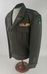 WW2 WWII US Army 1st Army Pacific Artillery Captain Rank Ike Jacket w Ribbon Bar