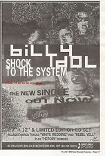 BILLY IDOL Shock To the System 1993 UK Press ADVERT 10x8 inches