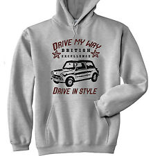 BRITISH LEYLAND MINI VINTAGE DRIVE MY WAY - GREY HOODIE - ALL SIZES IN STOCK