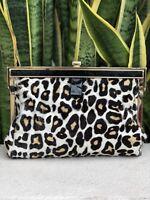 Anne Klein Leather Calf Hair Leopard Gold Clutch Purse Bag Brown Black NWT NEW