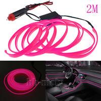 12V 2M Pink LED Neon Cold Light Car Interior Strip Lamp Mood Creative Decoration