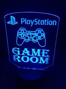 Play station Led Light Sign Touch Table Desk Lamp Rgb Remote Game Room