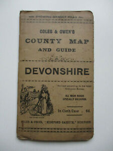 C1920's?? COLES AND OWEN'S COUNTY MAP & GUIDE TO DEVONSHIRE Showing Danger Hills