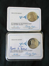 1973 & 1974 Sterling Silver Franklin Mint Collector's Society Member Coin Token