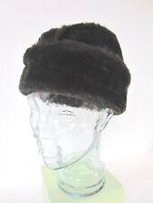 """Vintage Dark Brown FAUX FUR Fleece Winter Hat w Ear Flaps  22 """""""