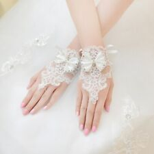 Women Lace Wedding Gloves White Fingerless Bow Bridal First Holy Communion