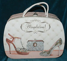 Sweet Pink & White Cardboard Suitcase For Play/Decor! Blingalicious! Girls Room