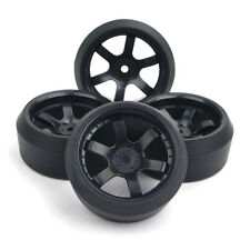 4Pcs 1:10 Hard Drift Tires&12mm Hex Wheels For HPI HSP RC On-Road Racing Car