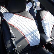 Seat Cover Shift Knob Belt Steering Wheel Black White PVC Leather Sedan Luxury 2