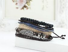 Men's Braided Leather Stainless Steel Cuff Bangle Bracelet Wristband Adjustable
