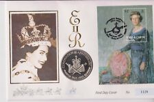 TURKS & CAICOS ISLANDS PNC COIN COVER 5 CROWNS QEII 40TH ANNI CORONATION 1128