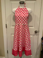 Lilly Pulitzer Pink & White Gingham Plaid Print Halter A-Line Dress, Size 8 (US)