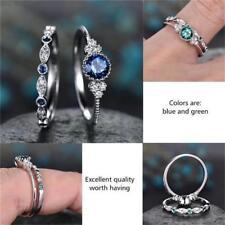 Frauen blau/Smaragd grünen Saphir Ring Verlobungsring Hochzeit Party Größe 6-10